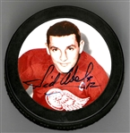 Sid Abel Autographed Photo Puck