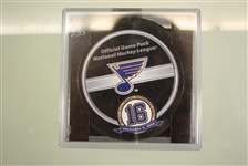 Brett Hull Jersey Retirement Night Official Game Puck
