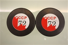 Russian CCCP 1972 Unsigned Puck Lot of 2
