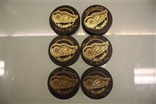 Detroit Red Wings Gold Alumni Autographed Puck Lot of 6
