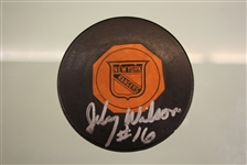 Johnny Wilson Autographed Vintage Rangers Game Puck