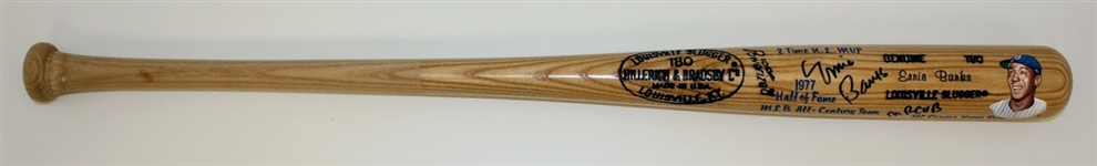 Ernie Banks Autographed Hand Painted Bat