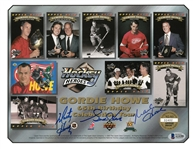 Gordie, Mark and Marty Howe Autographed Upper Deck Sheet
