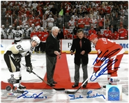 Gordie Howe, Nick Lidstrom and Ted Lindsay Autographed 8x10 Photo