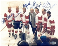 7 Red Wings Hall of Famers Autographed 8x10 Photo
