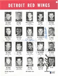 1963 Red Wings Multi Signed Roster Page