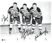 John Bucyk, Vic Stasiuk and Bronco Horvath Autographed 8.5x11 Photo