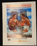Sugar Ray Leonard vs Tommy Hearns Original Fight Poster (Signed by Hearns)