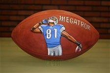 Calvin Johnson Autographed Hand Painted Football
