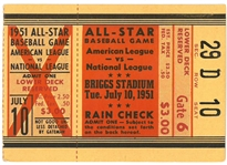 1951 Baseball All Star Game Ticket Briggs Stadium