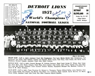 1957 Detroit Lions 16x20 Signed by 5