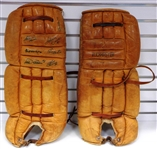 Vintage Goalie Pads Signed by 7 Hall of Famers
