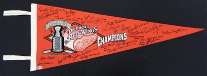 Detroit Red Wings Pennant Signed by 24 Cup Winning Players