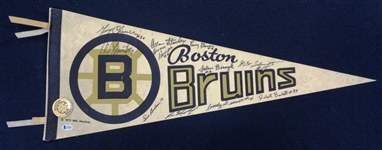 Boston Bruins Vintage Pennant Signed by 11 Greats