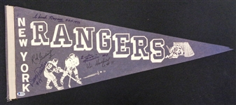 New York Rangers Vintage Pennant Signed by 5
