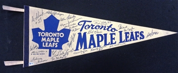 Toronto Maple Leafs Vintage Pennant Signed by 22 Greats