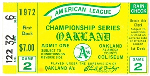 1972 Oakland As vs Detroit Tigers ALCS Ticket