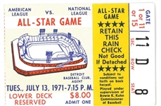 1971 MLB All Star Game Ticket from Tiger Stadium