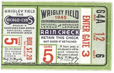 1945 World Series Ticket from Wrigley - Tigers vs. Cubs
