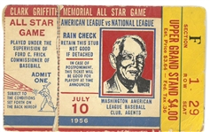 1956 MLB All Star Game Ticket from Washington