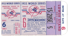 1953 World Series Game 6 Ticket at Yankee Stadium
