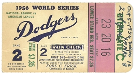 1956 World Series Game 2 Ticket - Yankees vs Dodgers