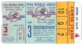 1956 World Series Game 2 Ticket - Yankees vs Dodgers3