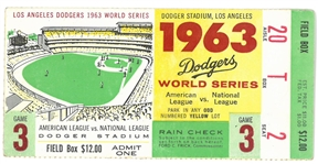 1963 World Series Game 3 Ticket - Yankees vs Dodgers