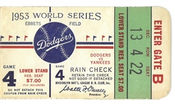 1953 World Series Game 4 Ticket - Yankees vs Dodgers