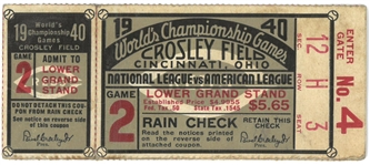 1940 World Series Game 2 Ticket - Reds vs Tigers