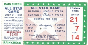 1961 MLB All Star Game Ticket at Fenway Park