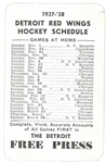 1937/38 Red Wings Pocket Schedule