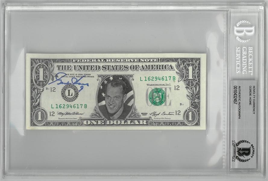 Lot Detail - Gordie Howe Autographed Custom Dollar Bill