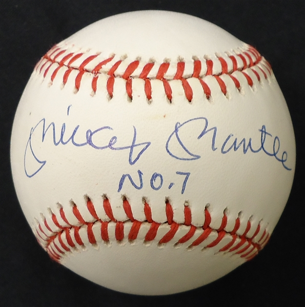 Mickey Mantle No. 7 Autographed Baseball