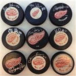 Detroit Red Wings 1980s Autographed Puck Lot of 9