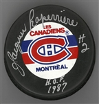 Jacques Laperriere Autographed Canadiens Puck
