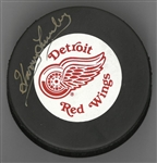 Harry Lumley Autographed Red Wings Puck