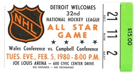 1980 NHL All Star Game Ticket - Howes Last Gretzkys 1st