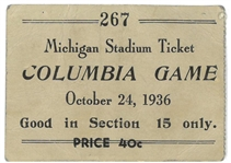 Michigan Wolverines 1936 Football Ticket