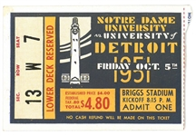Notre Dame vs U of Detroit 1951 Football Ticket