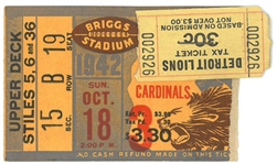 Detroit Lions vs Chicago Cardinals 1942 Ticket