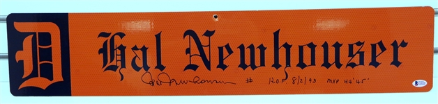 Hal Newhouser Autographed Custom Street Sign