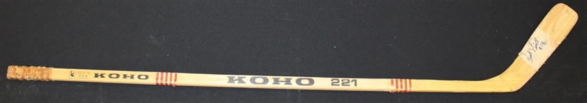 Nick Libett Autographed Game Used Stick
