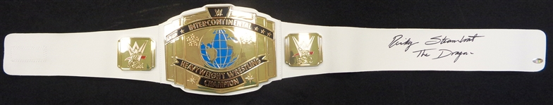 Ricky Steamboat Signed WWE Intercontinental Championship White Replica Belt w/The Dragon