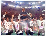 1985 Chicago Bears Team Signed Super Bowl XX Ditka Carried Off Field 16x20 Photo (22 Sigs)