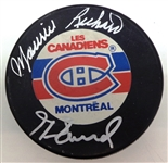 Maurice & Henri Richard Autographed Canadiens Puck