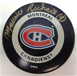 Maurice Richard Autographed Canadiens Game Puck