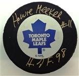Howie Meeker Autographed Maple Leafs Puck