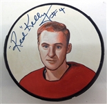 Red Kelly Autographed Hand Painted Puck