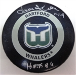Dave Keon Autographed Whalers Game Puck